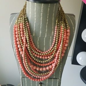 Peach & Gold Multi-Strand Statement Necklace